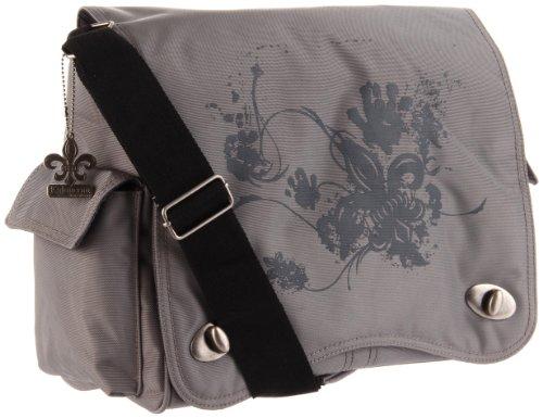 (Kalencom Diaper Bag, Screened Gray Fleur De Lis)