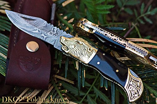 DKC-527 BLACK WOLF Damascus Steel Folding Pocket Knife 4.5 Folded 7.5 Long 3 Blade 7oz High Class Hand Made DKC Knives
