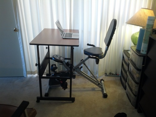 Makes a good exercise desk with the Exerpeutic 400XL Folding Recumbent Bike