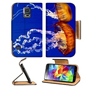 Animals Jellyfish Marine Organisms Lovers Samsung Galaxy S5 SM-G900 Flip Cover Case with Card Holder Customized Made to Order Support Ready Premium Deluxe Pu Leather 5 13/16 inch (148mm) x 2 1/8 inch (80mm) x 5/8 inch (16mm) MSD S V S 5 Professional Cases by lolosakes
