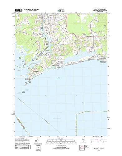 "Topographic Map Poster - WATCH HILL, RI-CT-NY TNM GEOPDF 7.5X7.5 GRID 24000-SCALE TM 2014, 19""x24"", Glossy Finish"