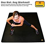 """Pogamat Large Exercise Mat 78"""" x 48"""" x 1/4"""" Thick (6.5 x4 ) Anti-Tear Workout Mat And Yoga Mats. Perfect For All Types Of Exercises. Does Not """"Bunch Up"""" While Working Out. Used WITH Or Without SHOES"""