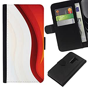 NEECELL GIFT forCITY // Billetera de cuero Caso Cubierta de protección Carcasa / Leather Wallet Case for LG G2 D800 // Blanco rojo