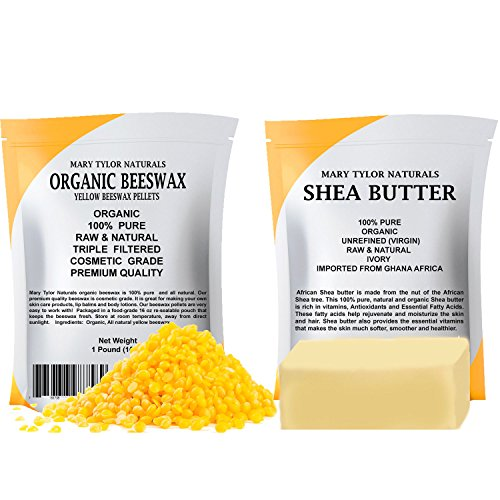 Organic Yellow Beeswax 1 lb + Organic Shea Butter 1 lb by Mary Tylor Naturals