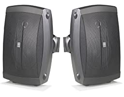 """Yamaha All Weather Indoor & Outdoor Wall Mountable Natural Sound 130 watt 2-way Acoustic Suspension Speakers (Set of 2) Black with 6.5"""" High Compliance Woofer, 1"""" PEI Dome Tweeter & Wide Frequency Response - Compatible with All Audio / Video Receivers, Components, CD Players & Home Theater Sound Systems"""