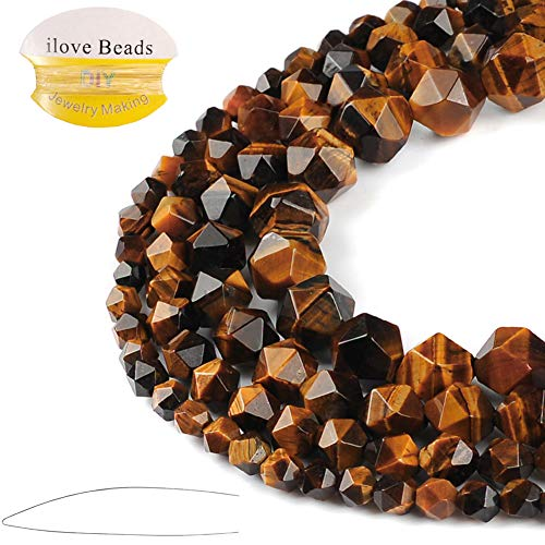 - ILVBD Natural Tiger Eye Gemstone Faceted Loose Beads 6/8/10/12MM for DIY Necklace Bracelet Jewelry Making (Tiger Eye, 8MM)
