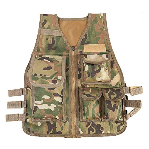 (Children Tactical Vest Nylon Shooting Hunting Molle Clothes CS Game Field Combat Training Protective Vest(CP))