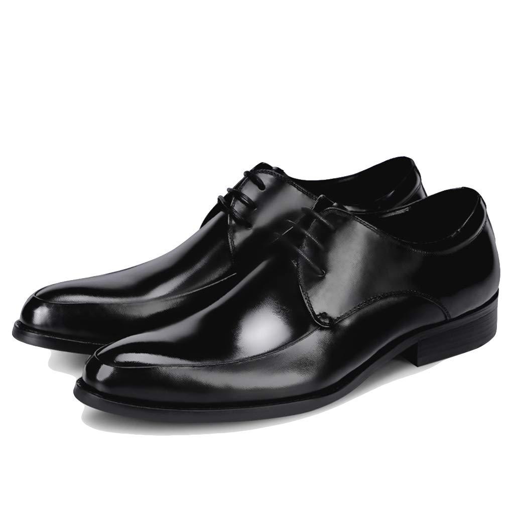 LIXIYU Zapatos con Cordones de Cuero para Hombres, Negro/Vino Rojo ...