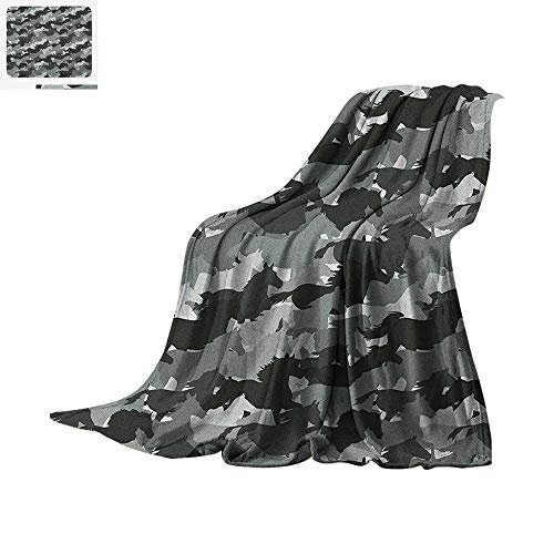 Horses Super Soft Lightweight Blanket Mustang Herd Galloping Together Animal Silhouettes Wildlife Abstract Custom Design Cozy Flannel Blanket 90
