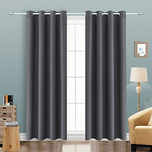 Sliding 2 Door (Alice Brown Solid Thermal Insulated Blackout Window Curtains/Draperies/Panels for Bedroom/Living Room/Sliding glass doors Top Fation Grommet by (2 Panel,W52 x L84 –Inch,Gray))