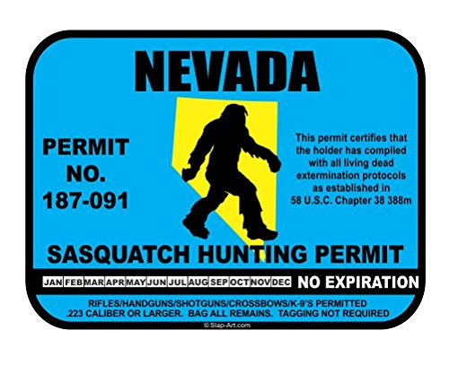 Nevada Sasquatch Hunting Permit License Bigfoot Vinyl Sticker Decal