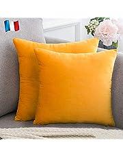 Douceur De Plumes Set van 2 fluwelen kussenhoezen 50x50 Mosterdgeel Oranje zachte en solide, vierkante decoratieve kussensloop voor sofa slaapkamer woonkamer (2 Mosterdgeel Oranje)