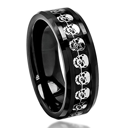 8mm - Man or Ladies - Ceramic with Cut-Out Skull Over Black Carbon Fiber Inlay Wedding Band Ring