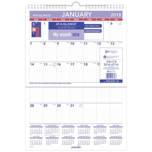 "AT-A-GLANCE Monthly Wall Calendar, January 2018 - December 2018, 12"" x 17"", Erasable, Wirebound (PMLM0228)"