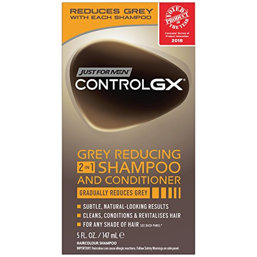 Just For Men Control GX 2 in 1 Grey Reducing Shampoo and Conditioner, 5 Fluid Ounce (Rinsing Out Hair Dye In The Shower)