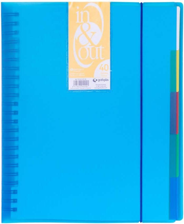 Grafoplás 39424030. Carpeta fundas extraibles, tamaño A4, color azul, 40 fundas