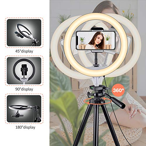 "10"" Selfie Ring Light with Tripod Stand & Phone Holder for Makeup and YouTube Live Streaming, Torjim Dimmable LED Camera… 2"