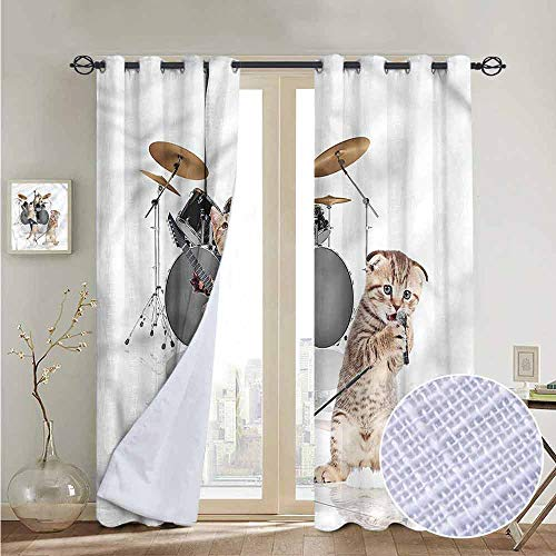NUOMANAN Window Curtain Fabric Animal,Rocker Band of Kittens,Rod Pocket Curtain Panels for Bedroom & Living Room 54