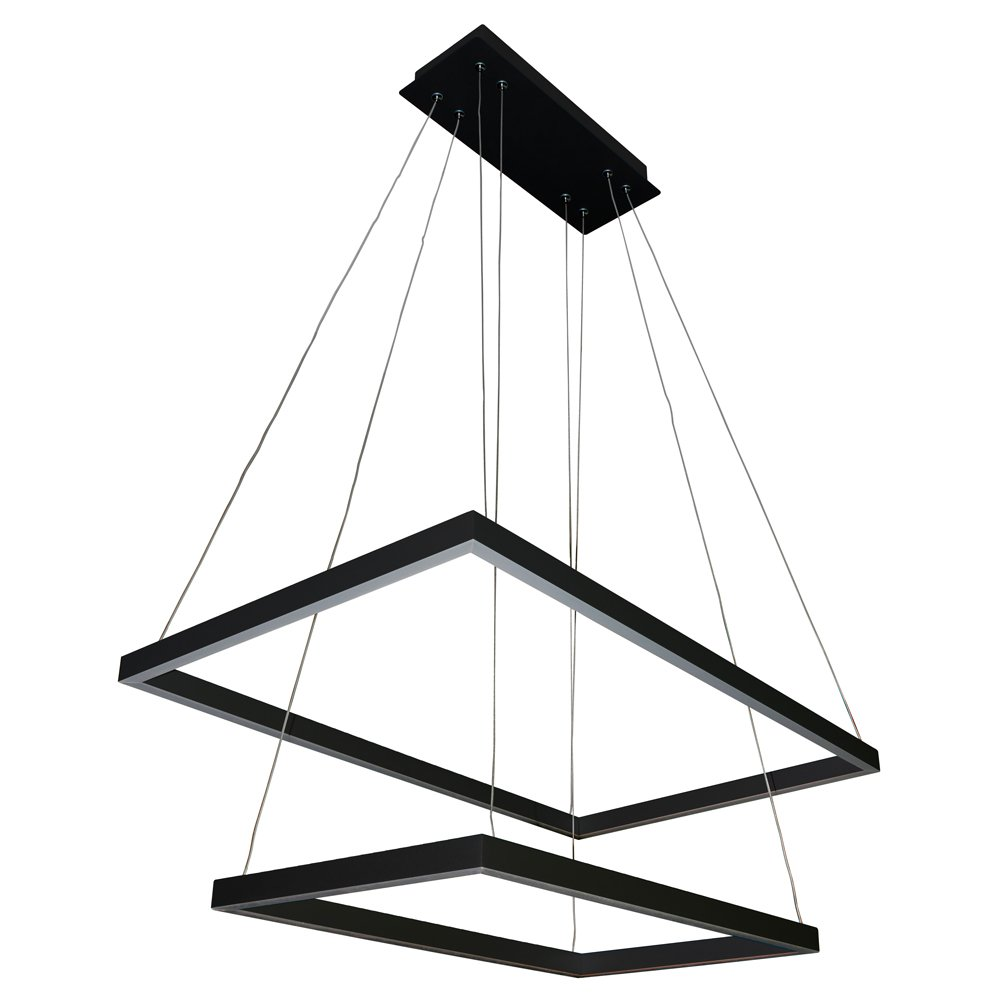 """VONN VMC31710BL Atria Duo 29"""", Adjustable Suspension Fixture, Modern Two-Tier Chandelier Lighting in Black Integrated LED 29.25"""" L x 17.25"""" W x 120"""" (6"""") H"""