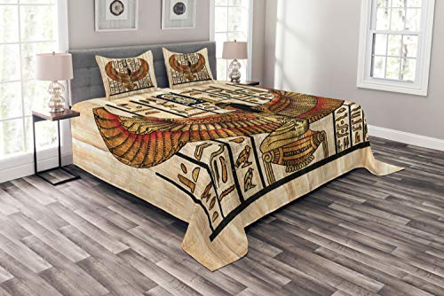 Lunarable Beige Bedspread Set Queen Size, Historical Art Parchment Style Woman with Wings, Decorative Quilted 3 Piece Coverlet Set with 2 Pillow Shams, Ivory Gold and Black