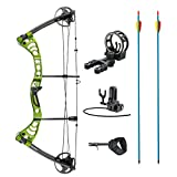 XGear Outdoors Compound Bow 30-55lbs 19″-29″ with Max Speed 296fps, Right Handed, Green with Accessories For Sale