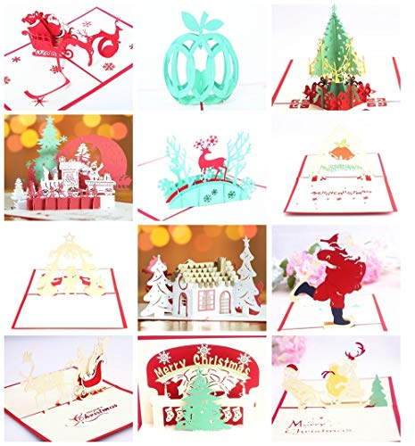 12-Pack 3D Chirstmas Pop Up Cards Greeting Cards for Congratulation, for Christmas Day, with Envelope (Combination 32) ()