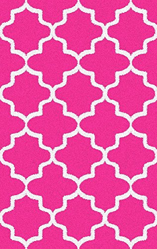 Hot Pink Contemporary Rug (Shag Area Rug, Contemporary Trellis Design, Anti-Bacterial, Olefin Fiber, 60-Inch-by-96-Inch (5x8),)