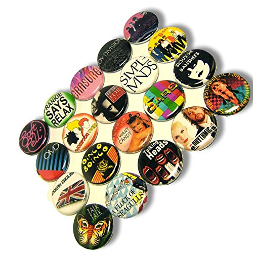 "Custom & Novelty {1"" Inch} 20 Bulk Pack, Mid-Size Button Pin-Back Badges for Unique Clothing Accents, Made of Rust-Proof Metal w/ 1980s Rock n Roll Punk Singers Different Set Band Style [Multicolor]"