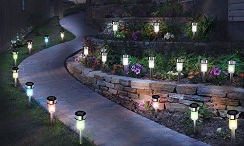 Babz cambia colore acciaio solare led luci da giardino