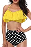 Womens High Waisted Swimsuits Ruffled Flounce Off Shoulder Bikini Top Set Two Piece Swimsuit (XL, Yellow-3)