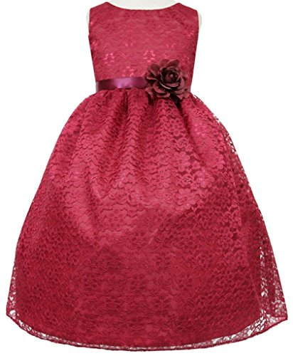 Pogo Pig (AkiDress Lovely Floral Lace Flower Girl Dress for Little Girl Burgundy 2)