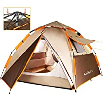 ZOMAKE Waterproof Camping Tent 2 3 4 Person - Protable Dome Quick up Tent (Brown)