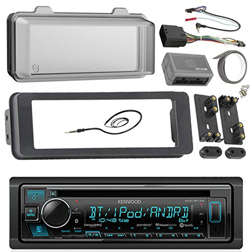 98-2013 Kenwood Harley Touring Install Adapter Dash Kit FLHT FLHTC FLHX CD MP3 AM/FM Radio Stereo With Bluetooth Streming Music With Steering Wheel Thumb Control Interface Enrock Antenna + Cover ()