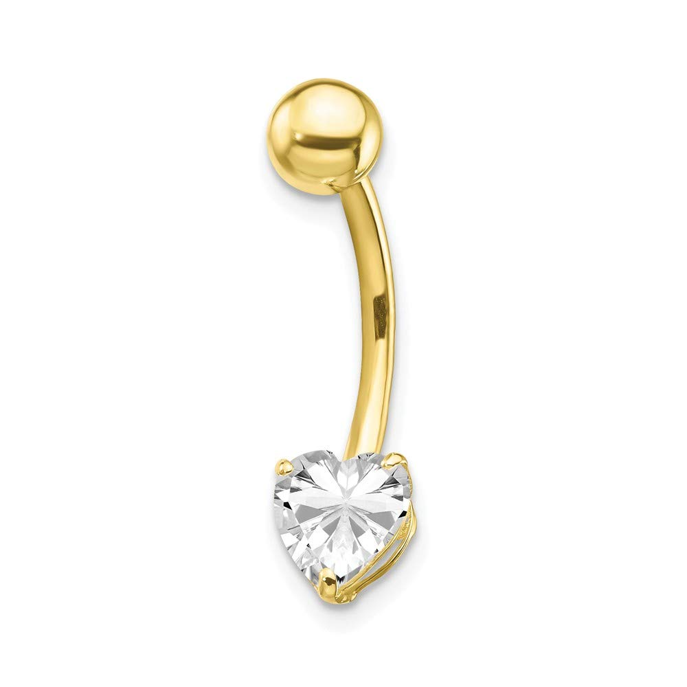 10k Yellow Gold 6x6 Heart Belly Button Rings Screw Navel Bars Body Piercing Naval Fine Jewelry Gifts For Women For Her
