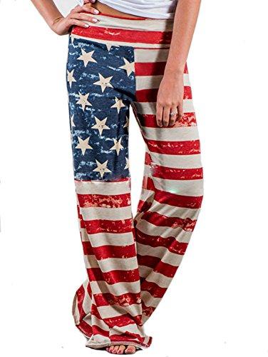 NECOOER Women's American Flag Floral Drawstring High Waist Wide Leg Pants Plus Size (XX-Large, Multicolor) (Tall Soft Drawstring Pant Womens)