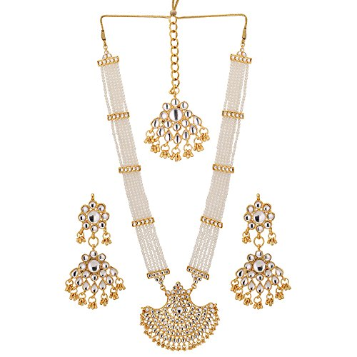 Gold Jewelry Collection (Jwellmart Indian Diva Collection Pearl Rani Haar Necklace Set in Kundan Stones for Women and Girls)