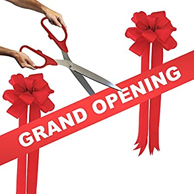 """Grand Opening Kit - 25"""" Silver Ceremonial Ribbon Cutting Scissors with 5 Yards of 6"""" Grand Opening Ribbon and 2 Bows"""