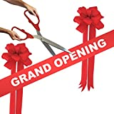 Grand Opening Kit - 25'' Red/Silver Ceremonial Ribbon Cutting Scissors with 5 Yards of 6'' Red Grand Opening Ribbon and 2 Red Bows