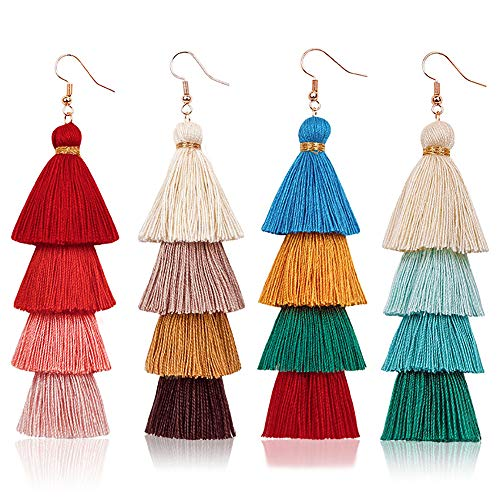 SHIWE Boho 9 Pairs Tassel Hoop Earrings Bohemian Fan Dangle Hook Drop Earrings Set for Women Girls Eardrop Gift Ear Jewelry (C: 4PCS/SET)