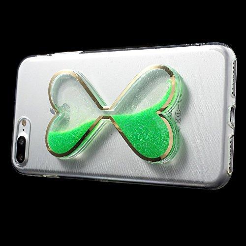 3D Heart Shaped Dynamic Quicksand TPU Back Tasche Hüllen Schutzhülle Case für iPhone 7 Plus 5.5 - Green