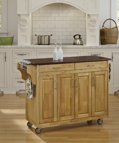 Home Styles 9200-1017G Create-a-Cart, Natural Finish with Cherry Top - Black Natural Kitchen Island