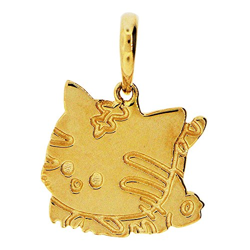 14k Yellow Gold, Adorable Kitty Cat Pendant Charm Polished (Cat Yellow Charm Gold)