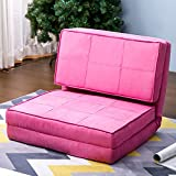 Harper & Bright Designs Convertible Futon Flip Chair Sleeper Bed Couch Sofa Seating Lounger (Pink)
