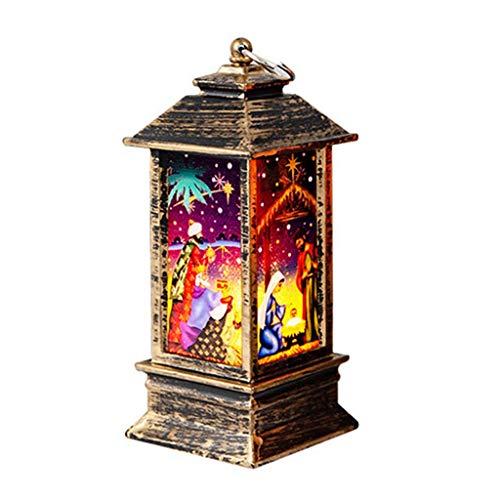 Luz de Noche LED, Adornos de Navidad Mood Light Lanterns Lampara de Mesa Accesorios Vintage de Decoracion para Fiestas en el Hogar Decorativo Iluminacion de Navidad de interior (A, 5.5x5.5x13cm)