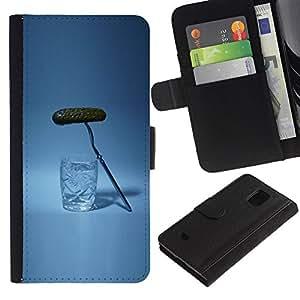 Planetar® Modelo colorido cuero carpeta tirón caso cubierta piel Holster Funda protección Para Samsung Galaxy S5 Mini / SM-G800 (Not For S5!!!) ( Russian Drinking Alcohol Pickle )