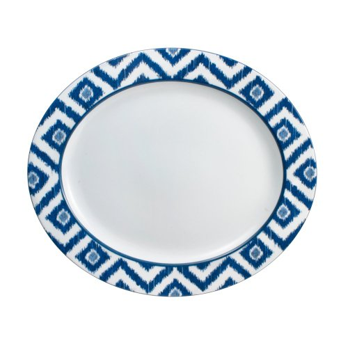 Mikasa Ikat Blue Oval Serving Platter, 14-3/4-Inch by 13-Inch