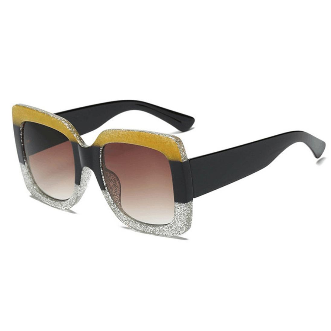 Leey Nuovi Occhiali da Sole Quadrati Oversize di Lusso con Lenti sfumate da Donna Vintage Occhiali da Sole Colorblock Occhiali da Sole da Vista Grandi da Sole Retro Eyewear Sunglasses Unisex 63RG