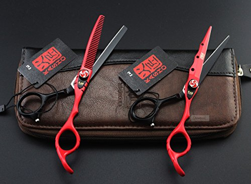 Gabion TM 1set stoving varnish Kasho 6.0 inch Hair Scissors barber Hairdressing tesoura de cabeleireiro hairdresser styling tools [Red With Bag]