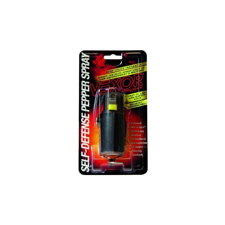 Vexor Self Defense Pepper Spray 3/4 Ounce Micro Spin Pepper Spray with Vinyl Clip and Key Holster