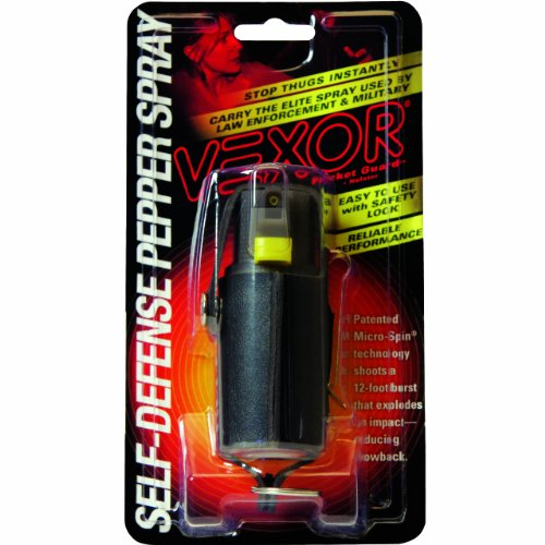 Vexor Self Defense Pepper Spray 3/4 Ounce Micro Spin Pepper Spray with Vinyl Clip and Key Holster